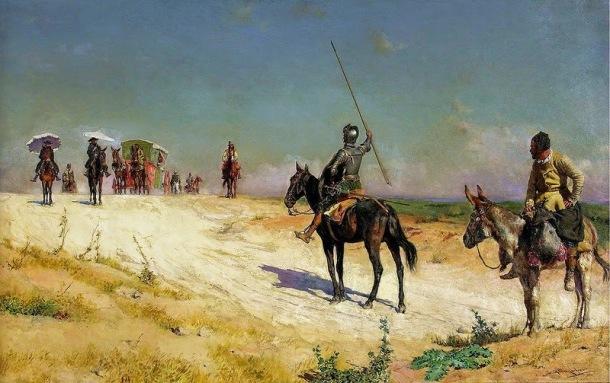 Don Quijote dando alto a la caravana